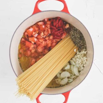 one pot pasta ingredients in a red pot