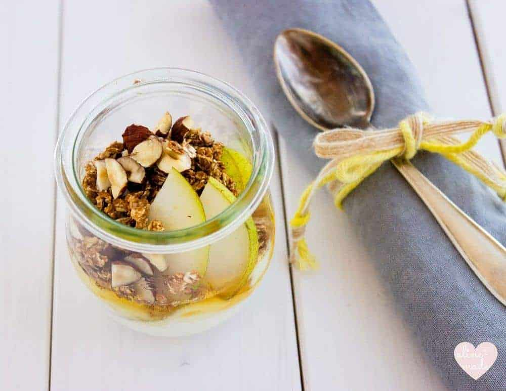 Greek Yogurt with Granola and Pear topped with honey
