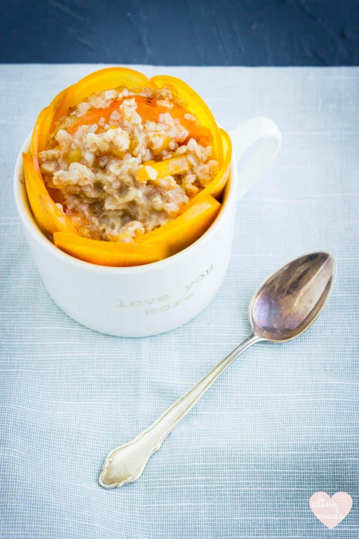 Persimmon Porridge decorated with persimmon
