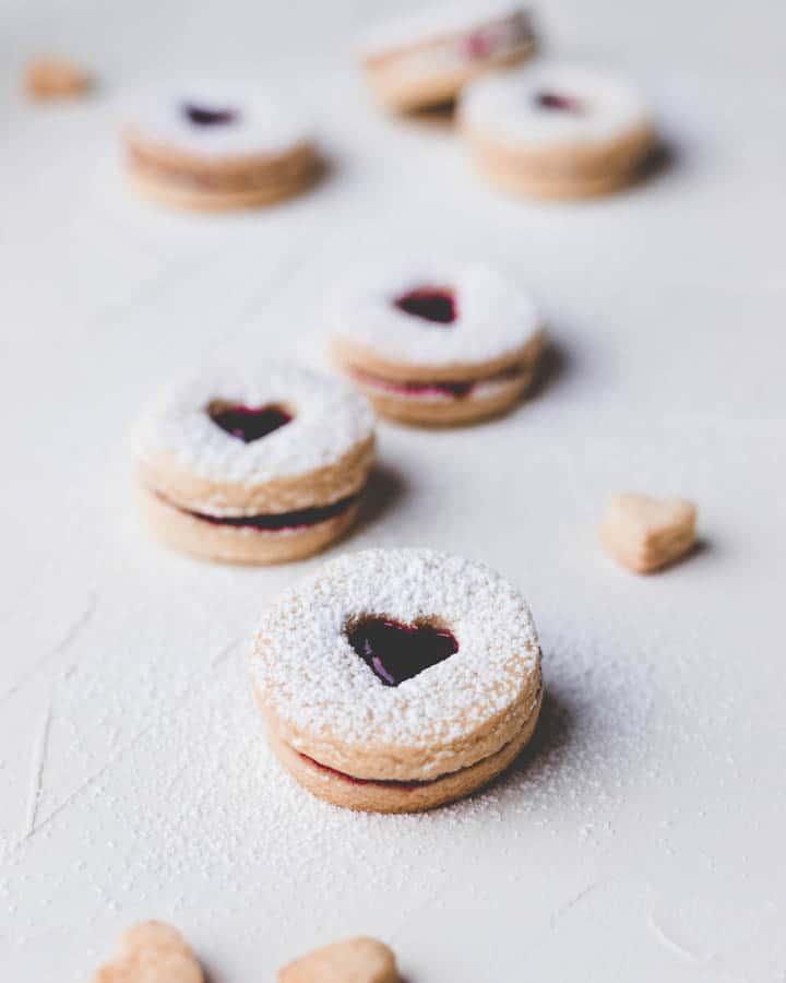 heart shaped spitzbuben cookies