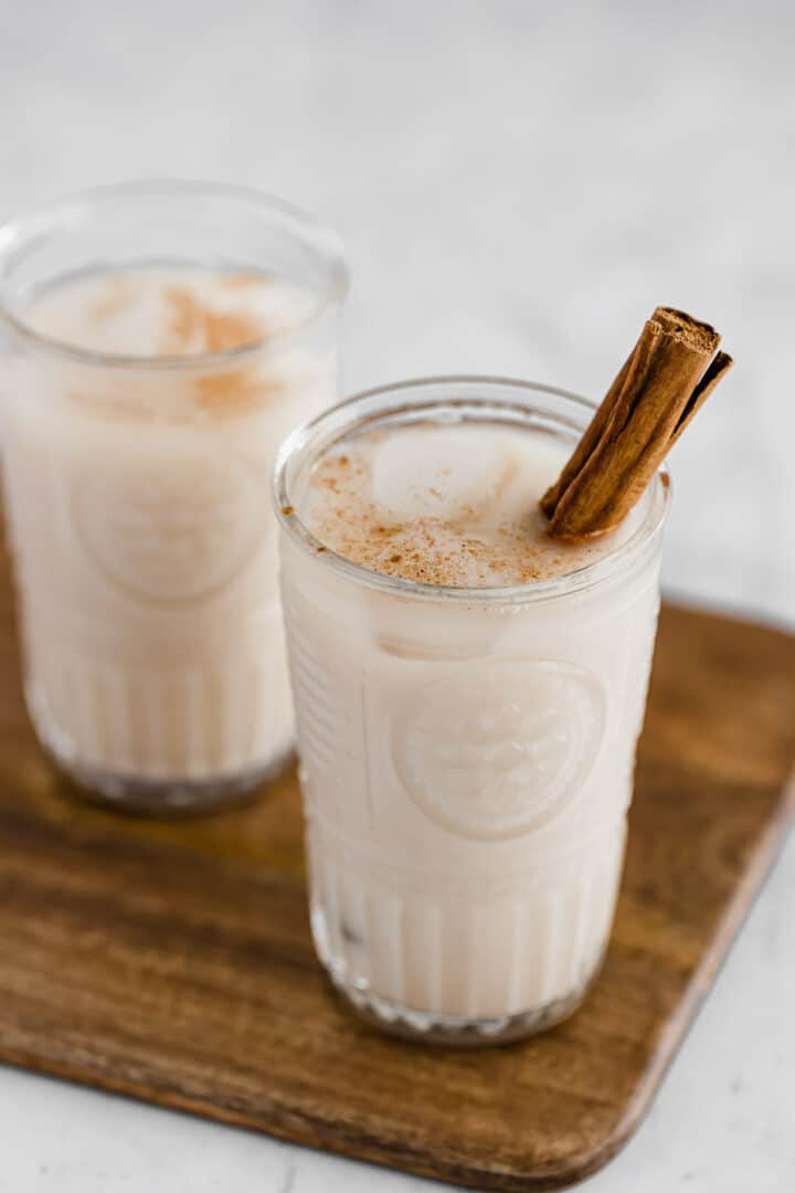 agua de horchata topped with cinnamon