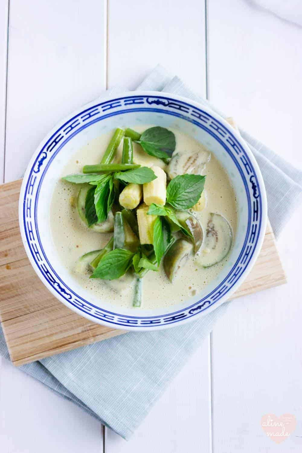 Vegan Thai Green Curry - Served with Thai basil.