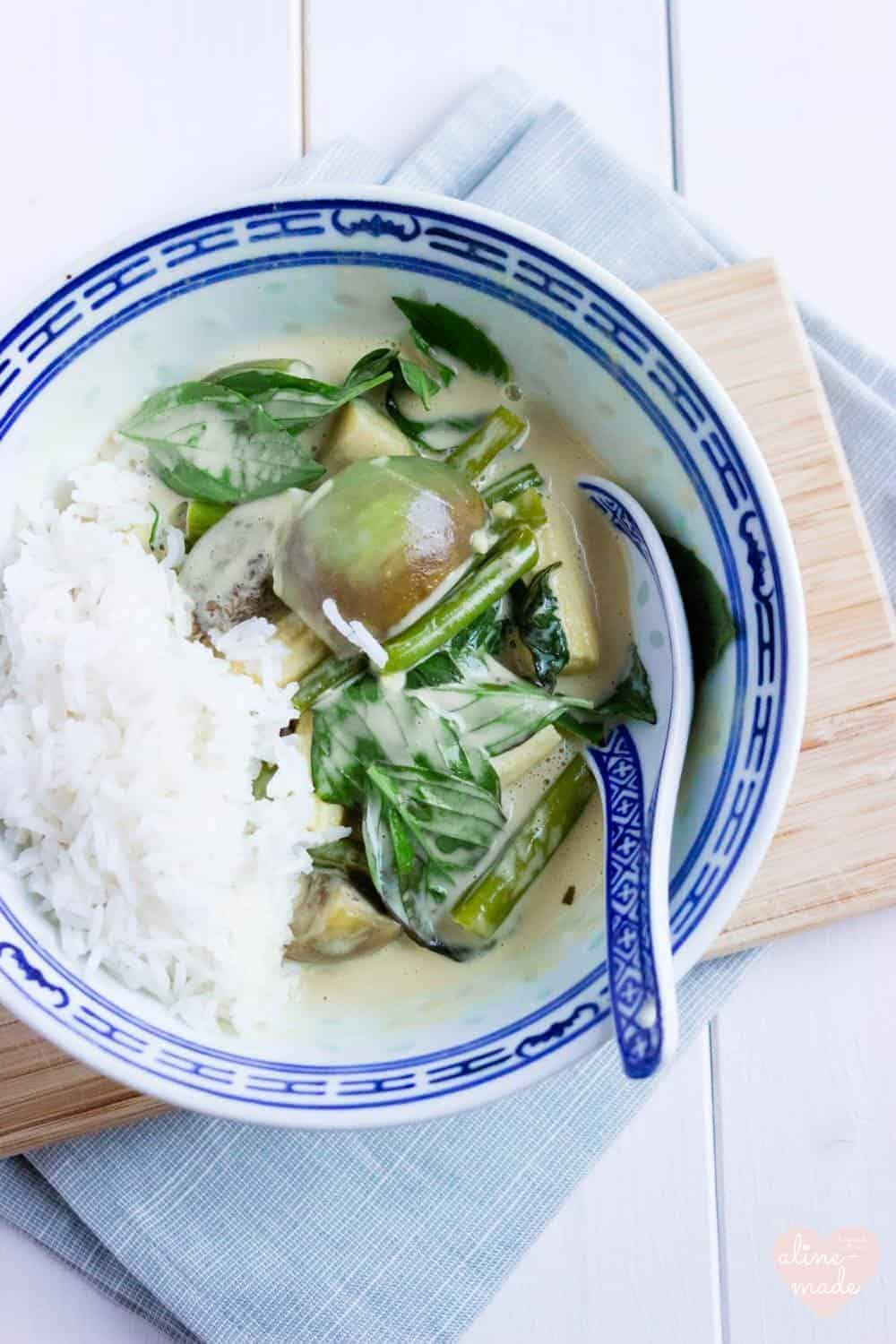 Vegan Thai Green Curry - Served with Basmati Rice.
