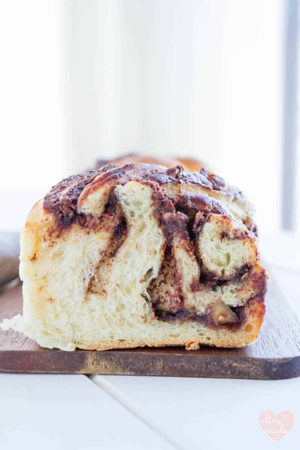 Braided Nutella Bread with Hazelnuts (Nutella Zopf) - Moist and crunchy.