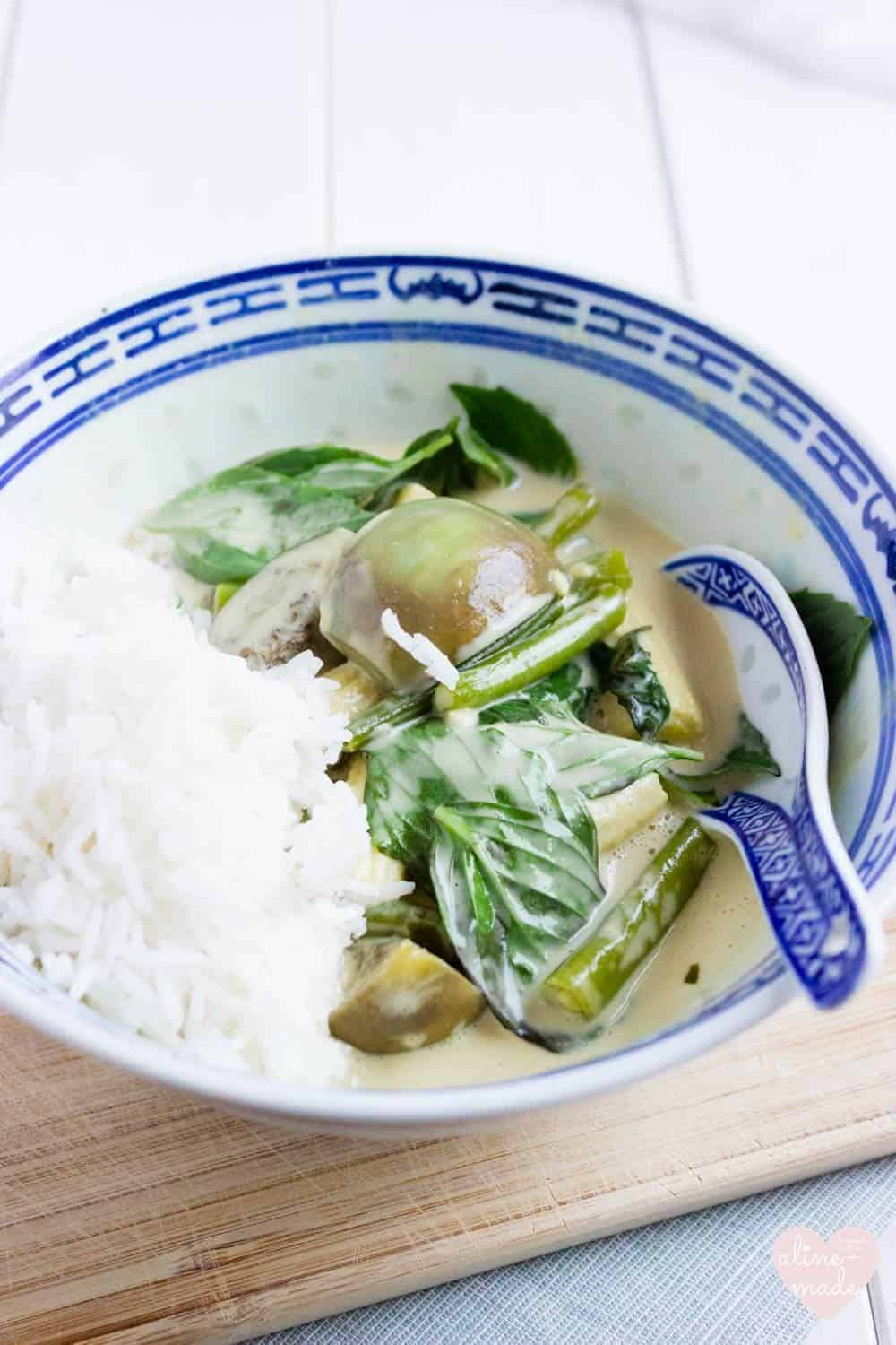 Vegan Thai Green Curry served with Basmati Rice and Thai Basil