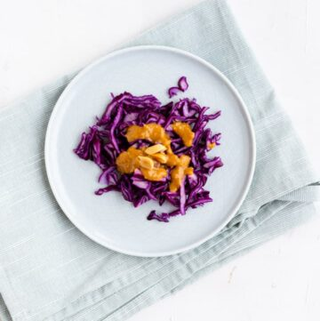 Red Cabbage Slaw with Peanut Dressing | Aline Made
