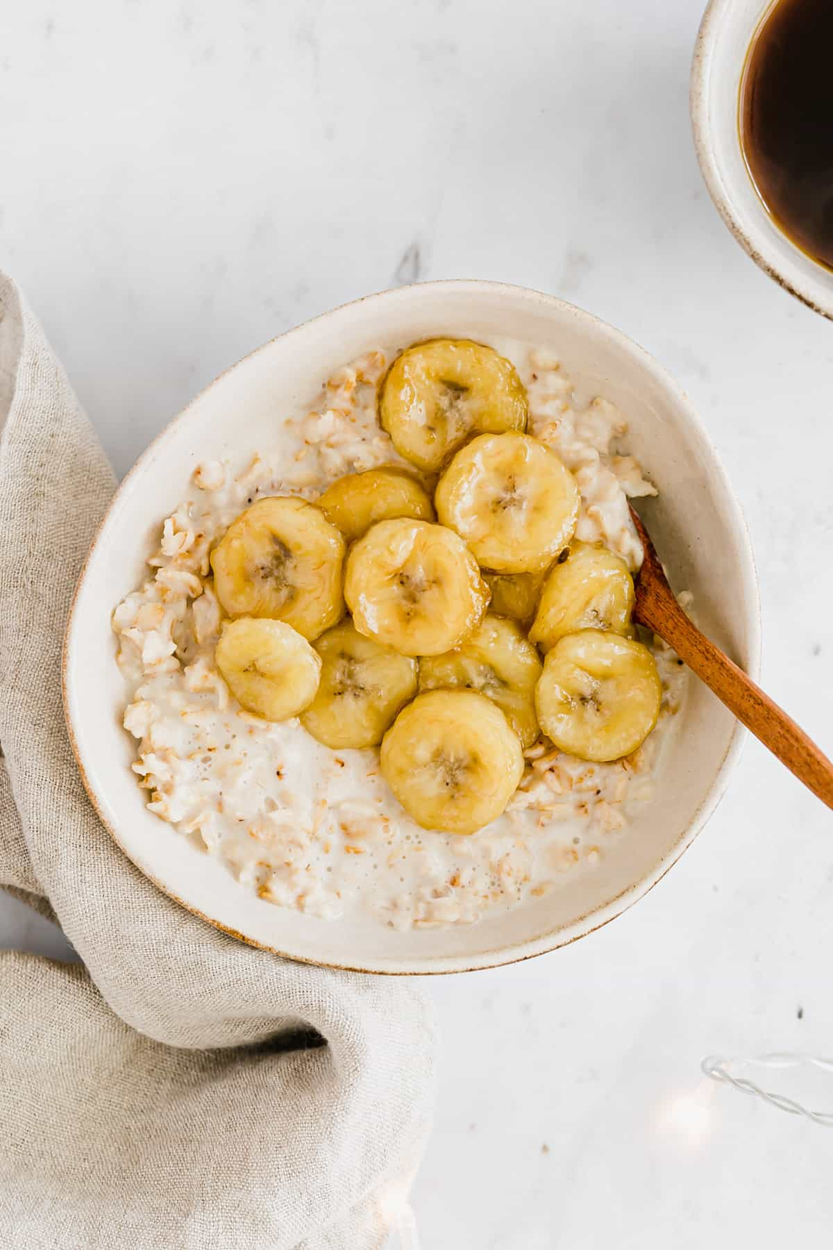 caramelized banana oatmeal in a bowl