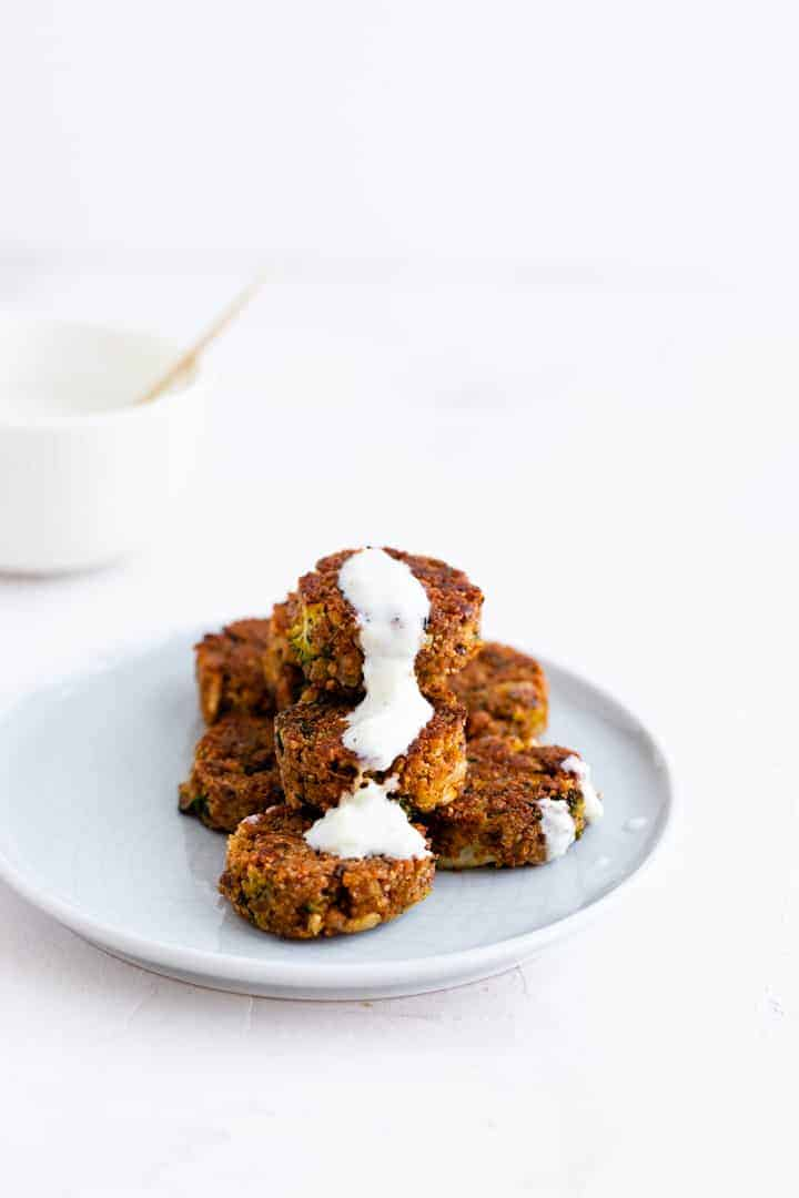 Veggie Teff Patties with Tzatziki Sauce