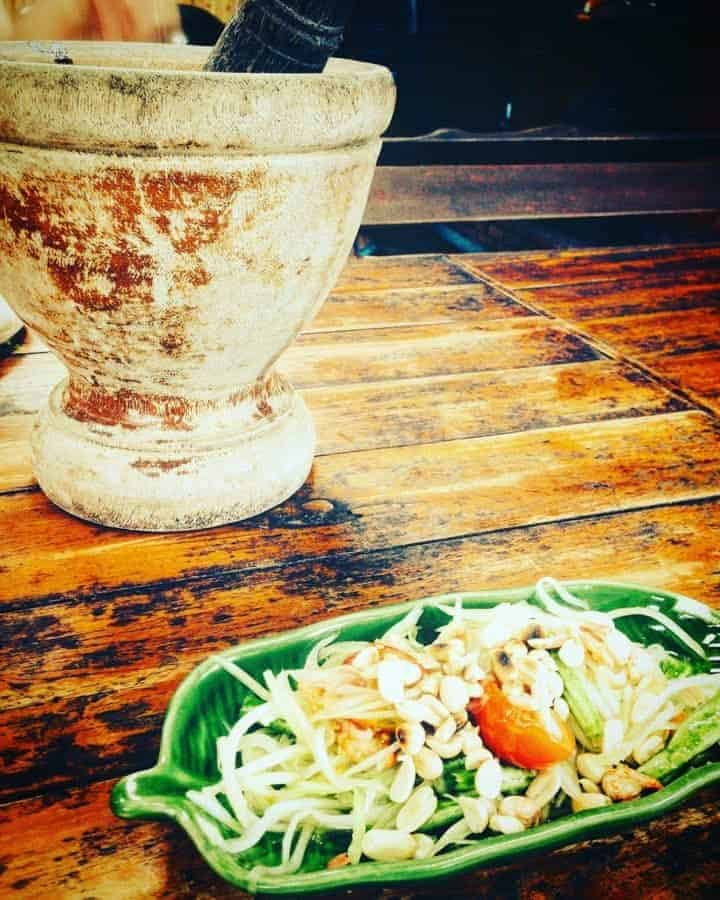 Thai Papaya Salad made in a cooking school in Thailand