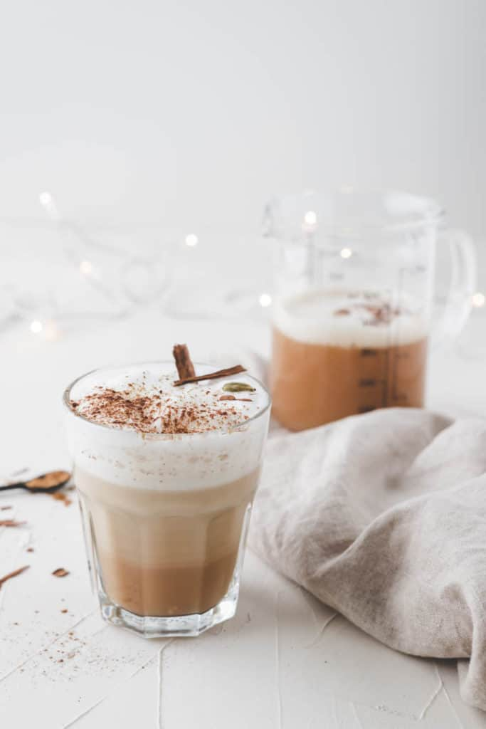 Homemade Chai Tea Latte with almond milk