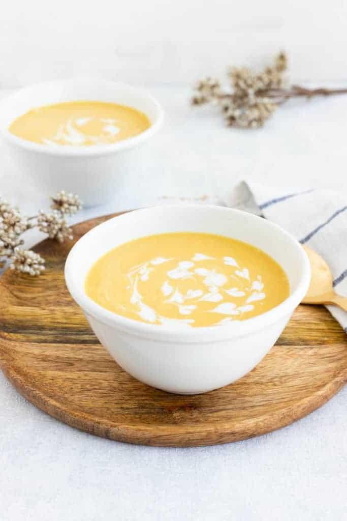 butternut kürbis suppe mit kokosmilch