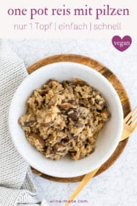 one pot reis mit pilzen pinterest