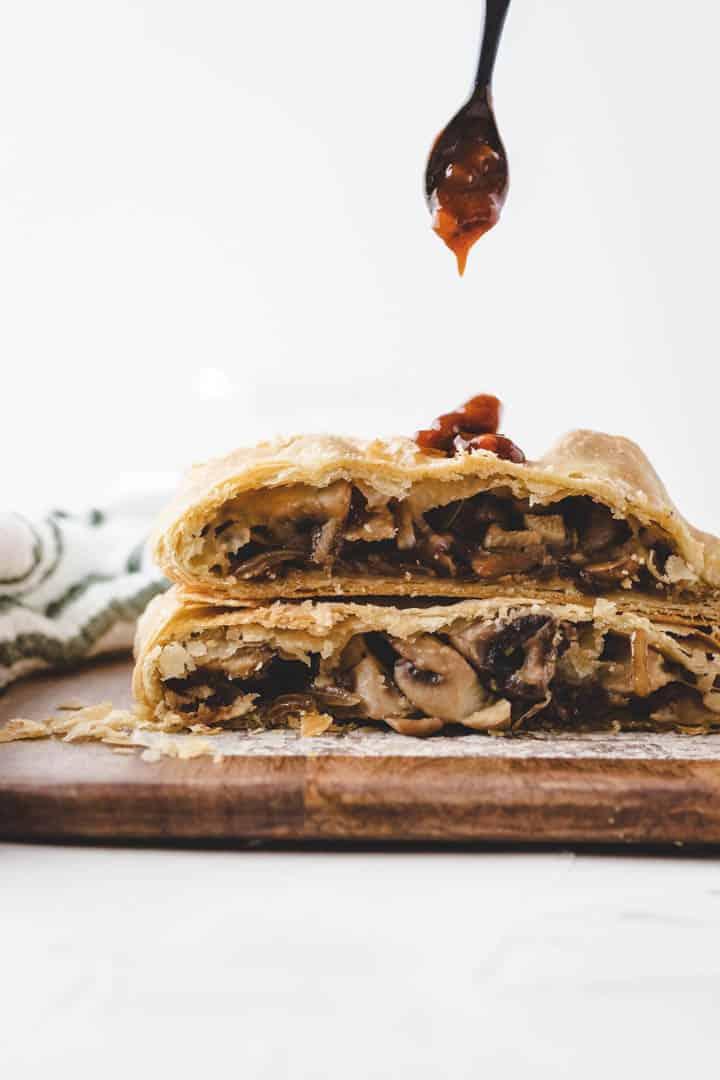 vegan gravy served with mushroom wellington