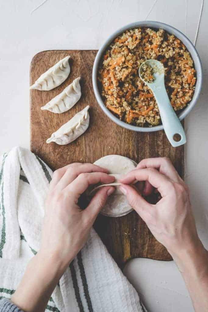Vegane Dumplings mit Tofu Step 4