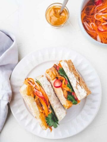 Vegan Tofu Banh Mi Sandwich with pickled veggies and hoisin-mayo