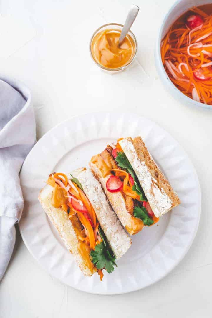 Vegan Tofu Banh Mi Sandwich with pickled veggies and hoisin-mayo