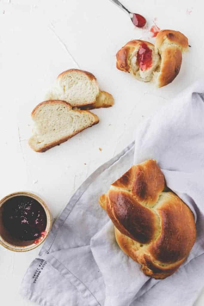 braided bread with jam