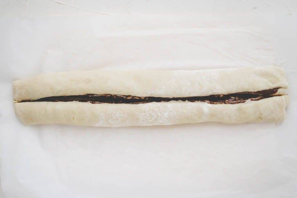 nutella bread log with a cut in the middle
