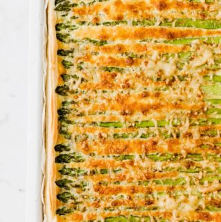 asparagus tart on a white board
