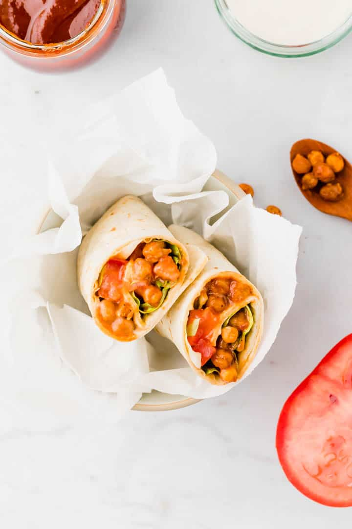 vegan wraps filled with bbq chickpeas