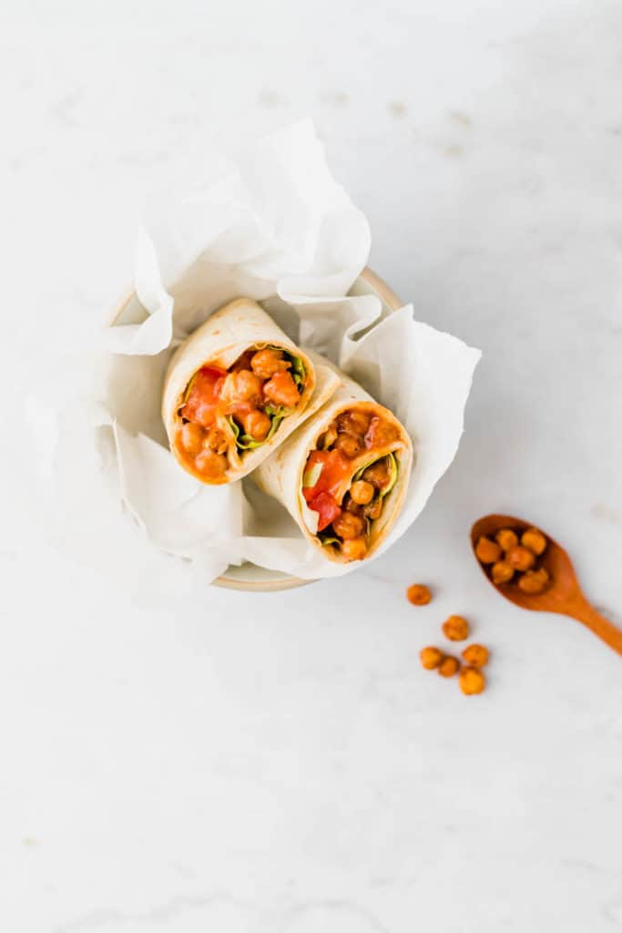 vegan tortilla wraps recipe filled with chickpeas served in a small bowl