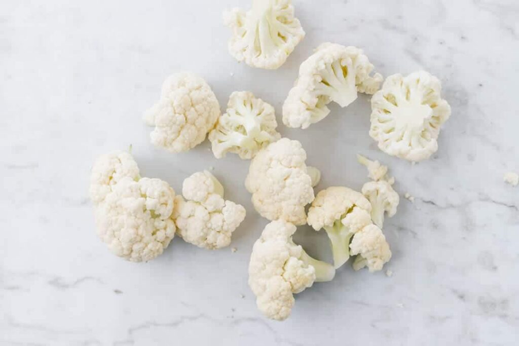 cauliflower florets on a marble dish