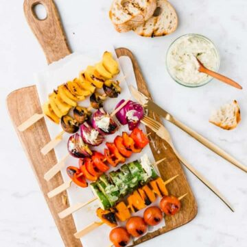 grilled vegetable skewers with herb butter
