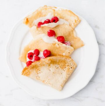 sweet vegan crepes served with berries