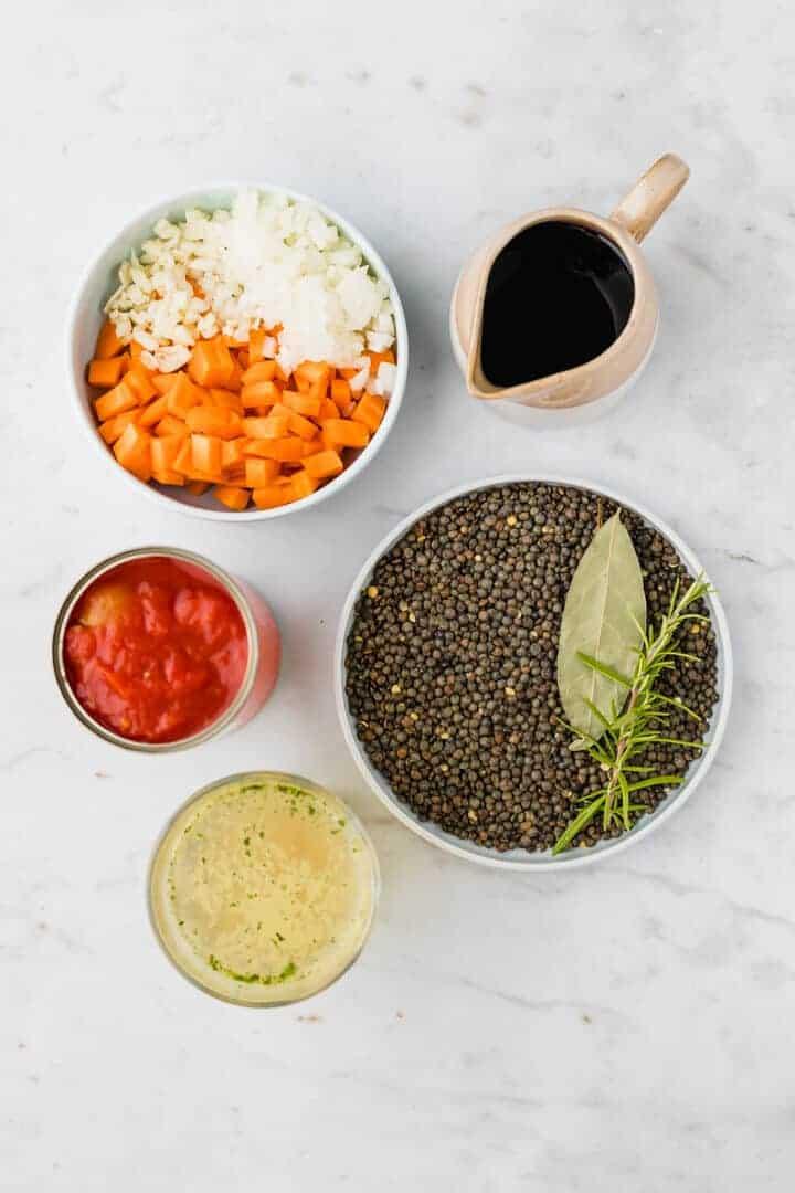 ingredients for lentil bolognese