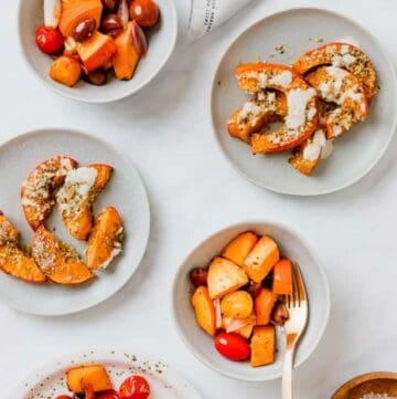 verschiedene gebackene kürbis speisen