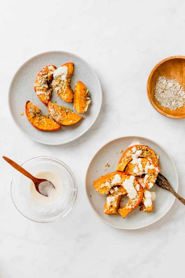 Roasted Pumpkin Wedges served with Tahini Sauce