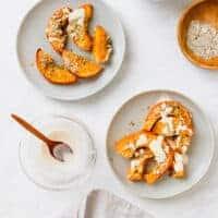 baked pumpkin wedges with panko and tahini sauce