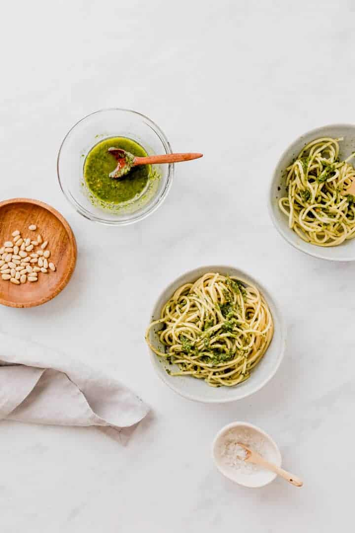 vegan pesto recipe served with spaghetti