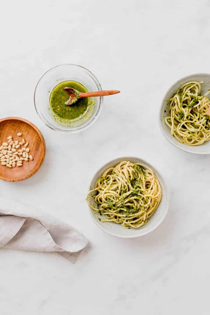 vegan basil pesto sauce with spaghetti