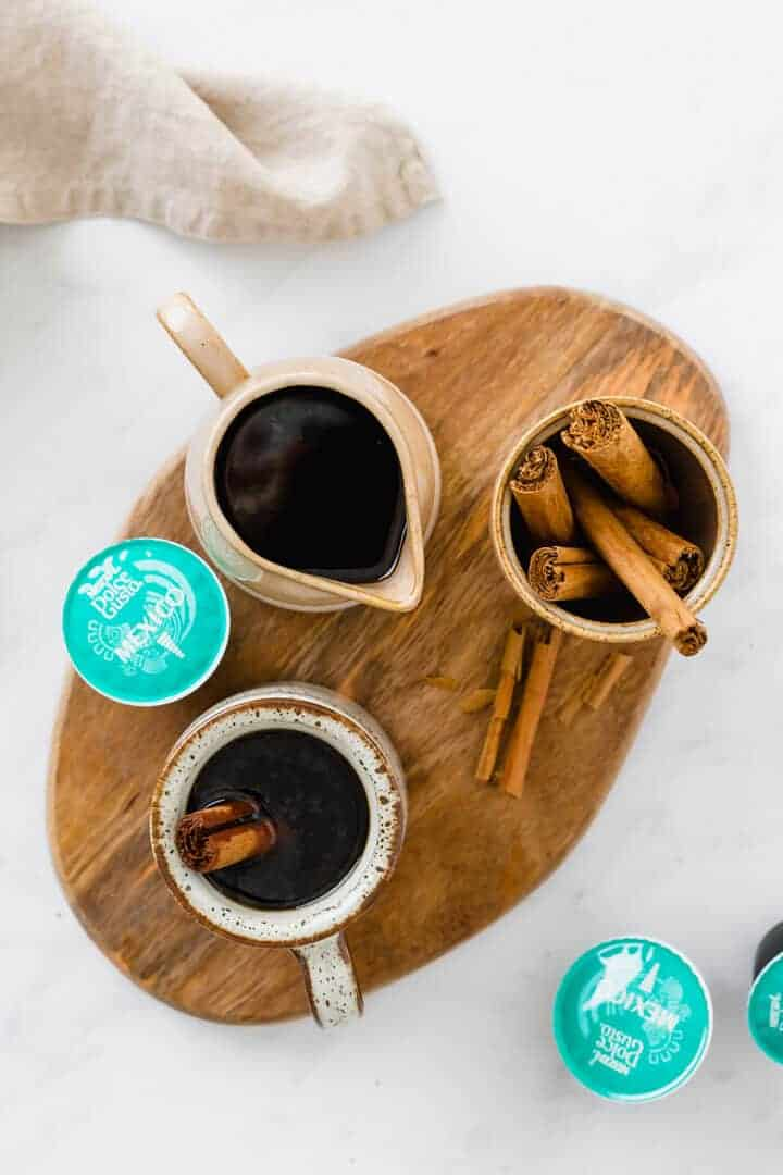 cafe de olla recipe served with cinnamon sticks
