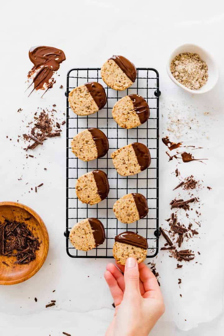 hazelnut cookies with hazelnut meal and chocolate