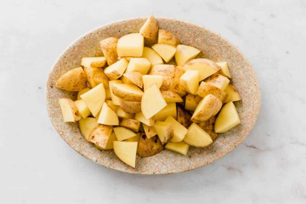 chopped potatoes on a plate