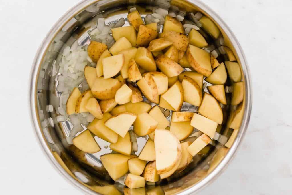 vegan broccoli potato soup recipe step 2