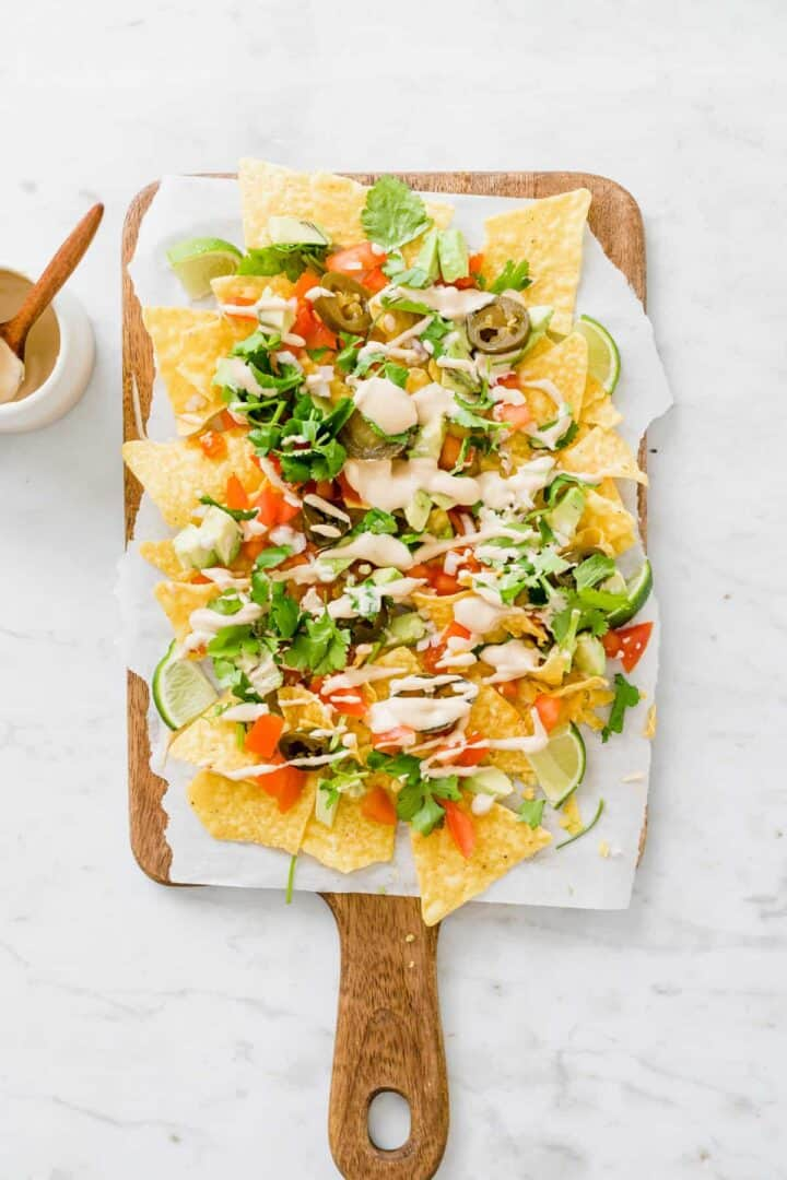 a plate full with quick veggie nachos