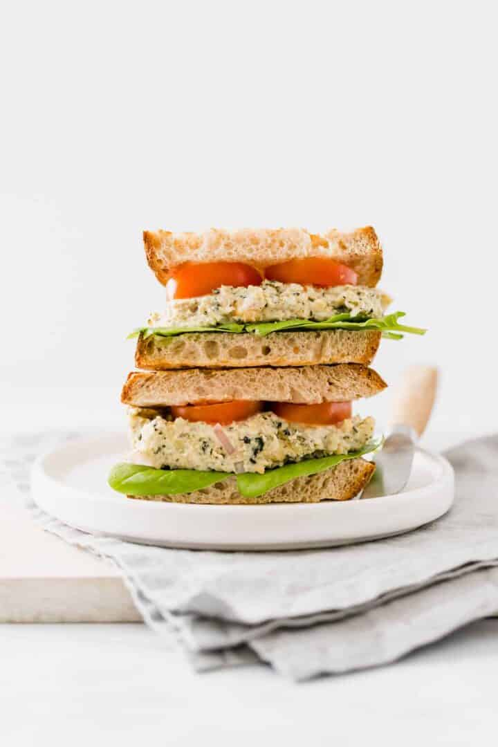 vegan chickpea tuna sandwich