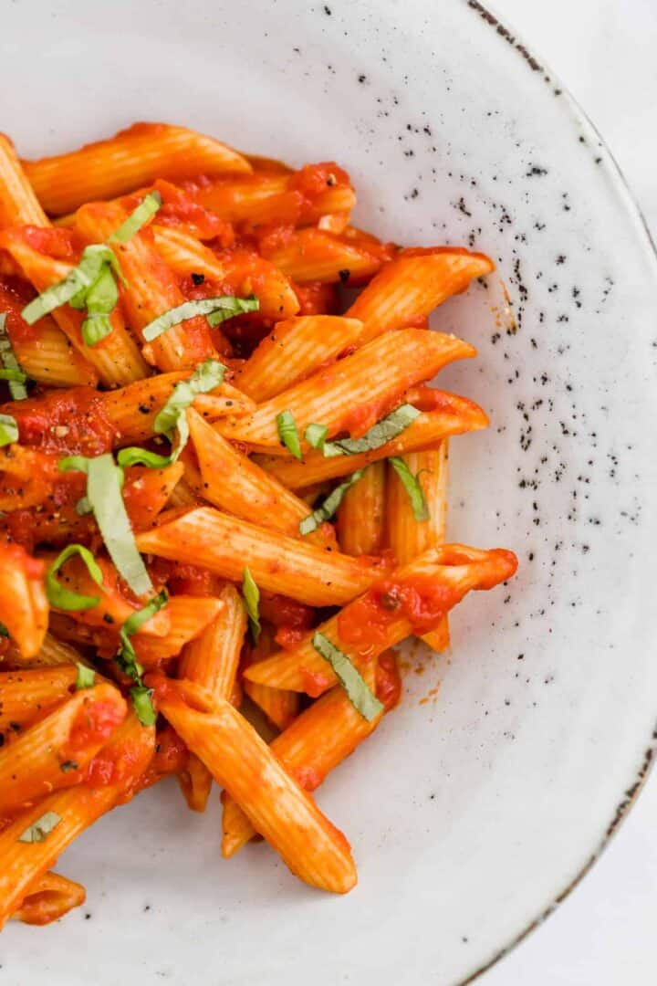 pasta arrabiata recipe with fresh basil