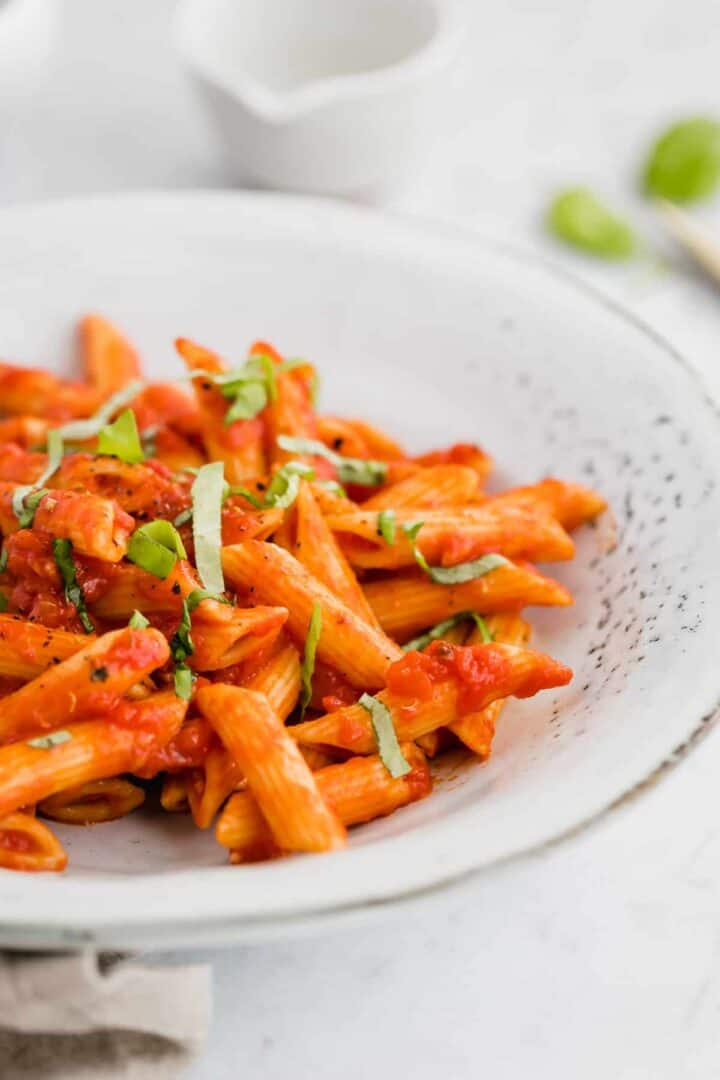 penne al arrabiata with fresh basil
