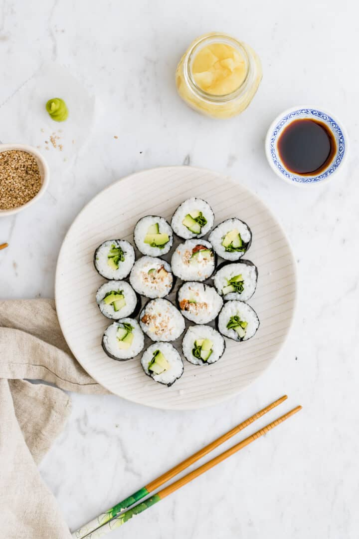 vegan sushi served with wasabi and pickled ginger