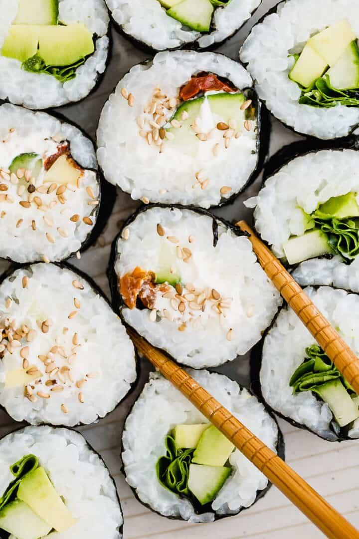 vegetarisches sushi nahaufnahme