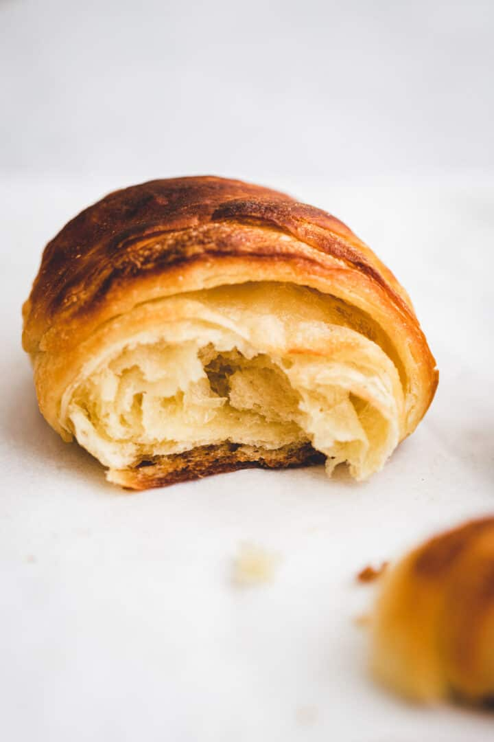 macro shot of a french croissant