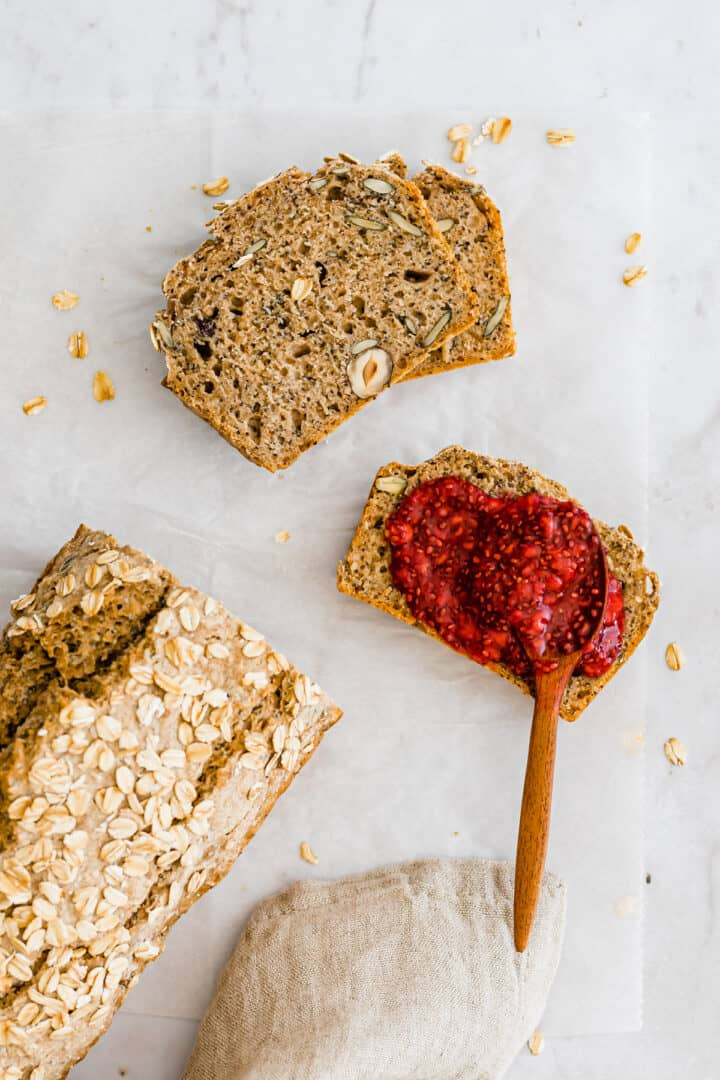 homemade bread served with raspberry chia jam