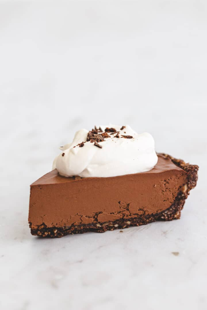 a piece of chocolate cream pie