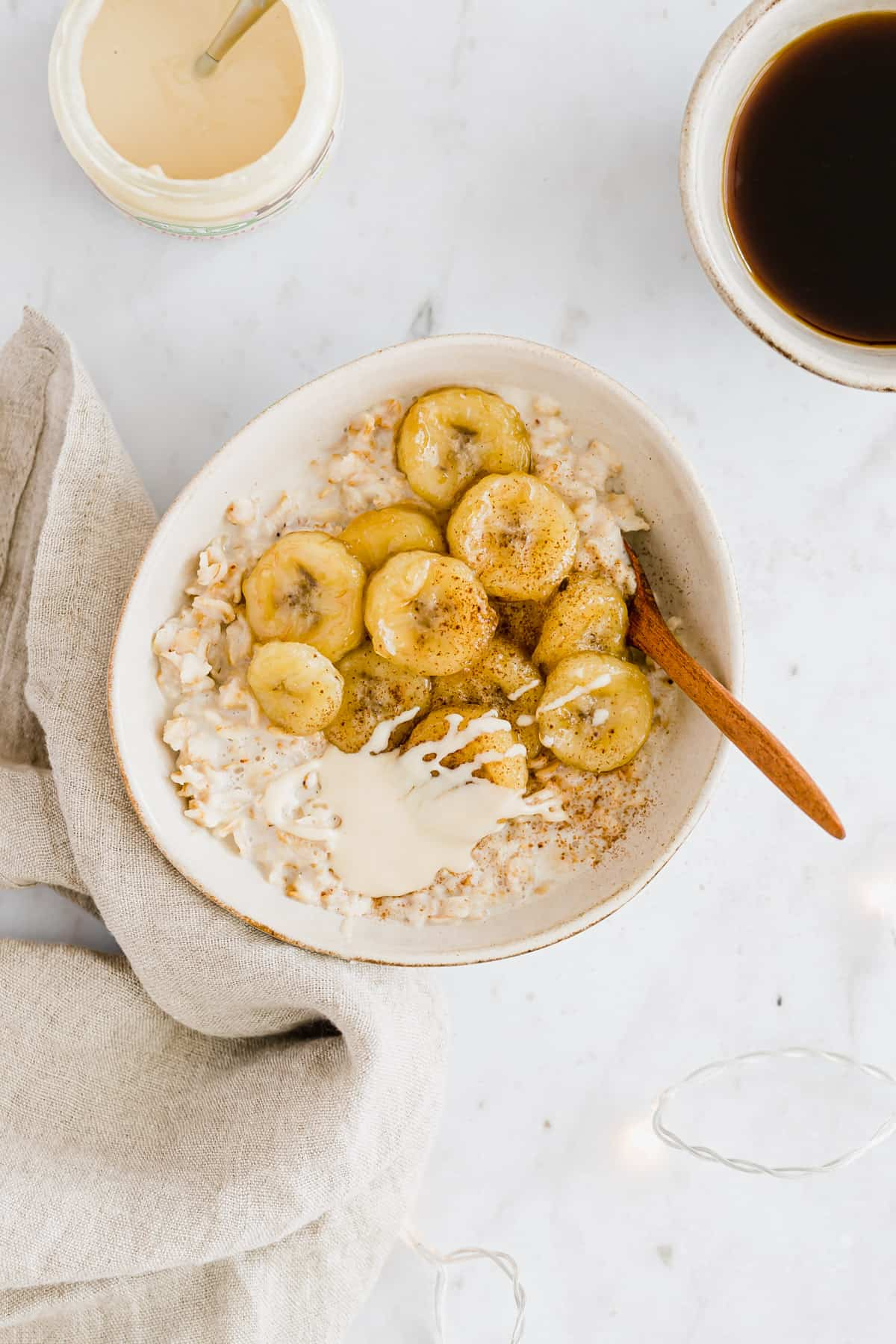 homemade oatmeal with banana and almond butter