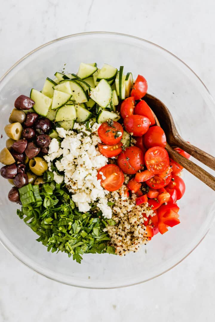 summer quinoa salad in a bowl