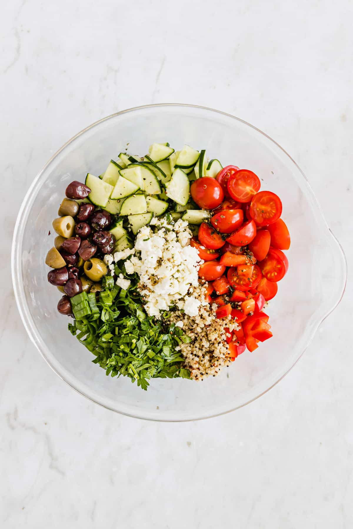 quinoa salad with feta and chopped veggies